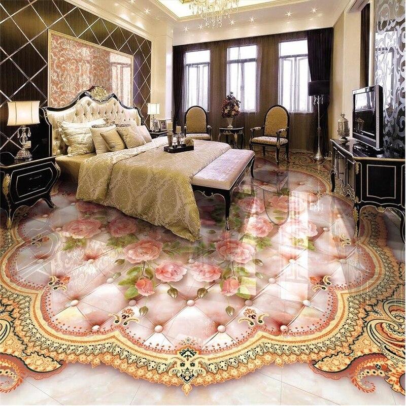 Beibehang cozinha Banheiro subiu bolinhas macio personalizado telha de assoalho telha pintura 3D antiderrapante piso de PVC auto-adesivo à prova d' água