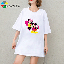 Harajuku Women Summer Minnie Mickey Mouse Cartoon Print Tee Casual Loose Cute Short Sleeve Party T-shirts Black