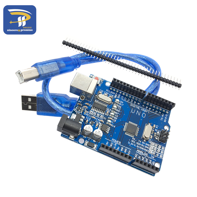 One Set UNO R3 (CH340G) MEGA328P For Arduino UNO R3 With Case USB Cable ATMEGA328P-AU Development Board