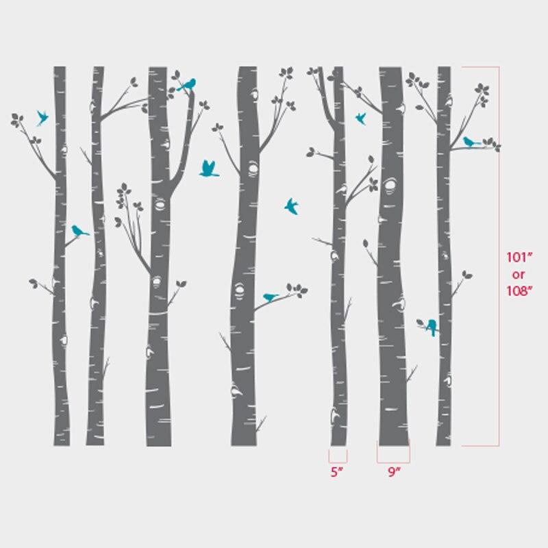ГОРЯЧАЯ огромный белое дерево наклейки на стену набор из 7 березы с птицами в 3/2 цвета детские наклейки на стену в детскую Декор в гостиную ZA320 - 6