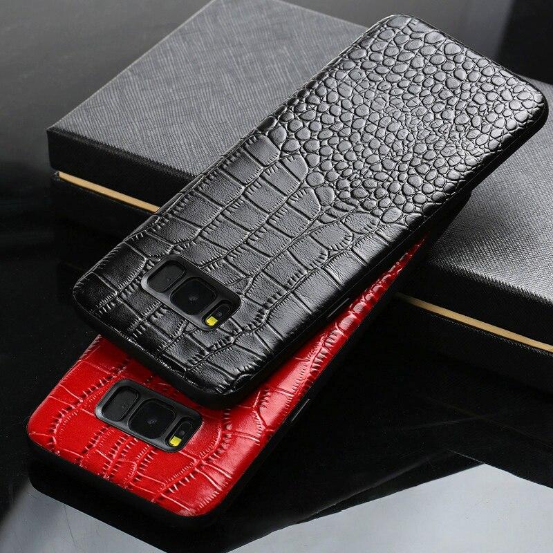 Caja del teléfono del cuero genuino para Samsung Galaxy S8 S9 más S7 borde Nota 8 9 A3 A5 A7 J3 J5 j7 2017 textura de cocodrilo vaca