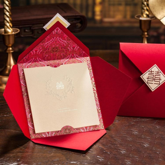 Wishmade Marriage Card Red Wedding Invitations Chinese Style