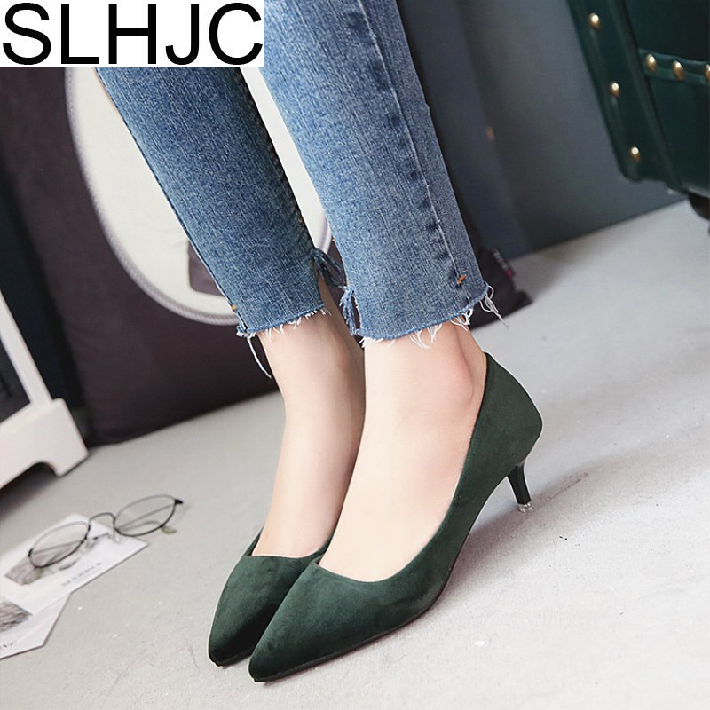SLHJC 5.5 CM Med Heel Shoes Pointed Toe Shallow Mouth Women Spring New Low Heel Pumps 2017 Summer Lady OL Work Shoes 2018 spring summer new women s pumps scrub sheepskin flowers rhinestone coarse high heel shallow mouth craft shoes