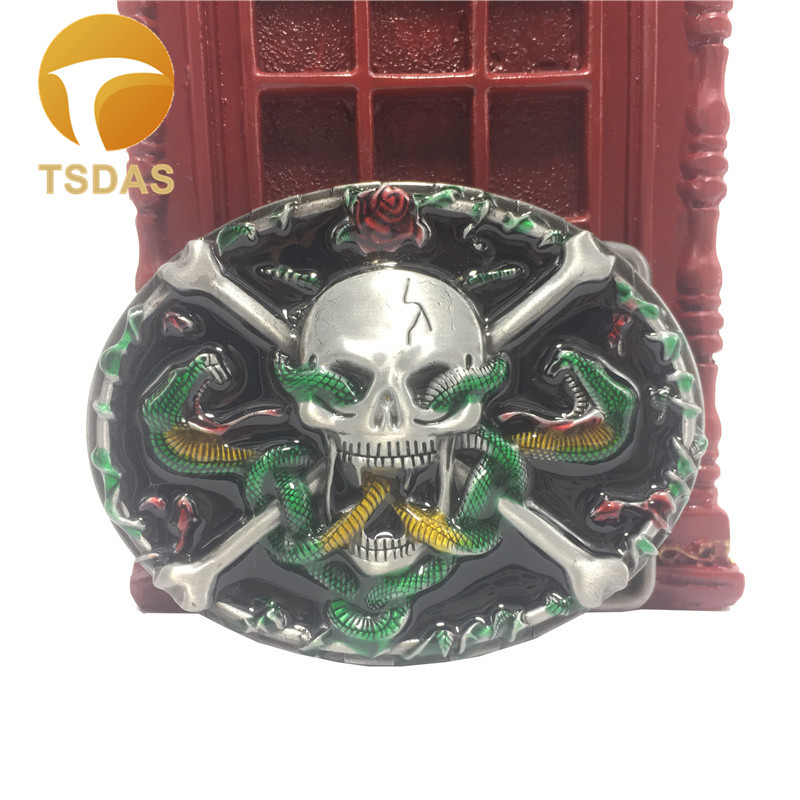Skull Belt Buckle With Snakes Western Belt Buckle With Pewter Finish Suit For 3 8 4cm