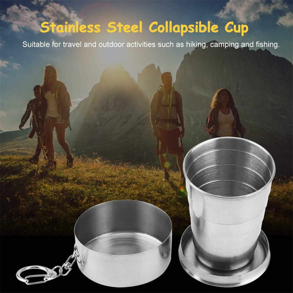 2019 New Stainless Steel Portable Folding Cups Telescopic Collapsible Travel Camping Cup #NN704