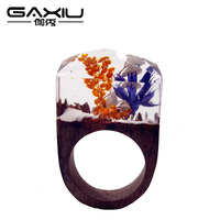 New Handmade Resin Male Ring Wooden Flower Wedding Band Men's Jewelry Water Wave Hip Hop Fashion Punk Rings For Men