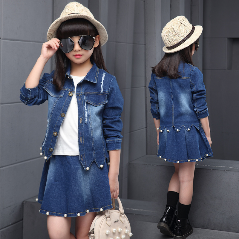 купить Baby Girls Pearl Denim Jacket Jeans Short Mini Skirt Set Fashion Kids Girl Jacket Coat Skirt Suit Set Children Spring Outfits по цене 4328.72 рублей