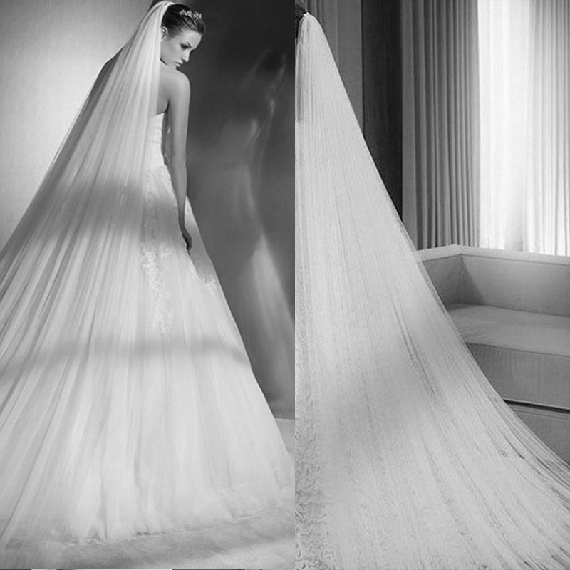 Bridal-Veil Wedding-Accessories Longo Comb Lace-Edge Tulle Appliques Long-Cathedral