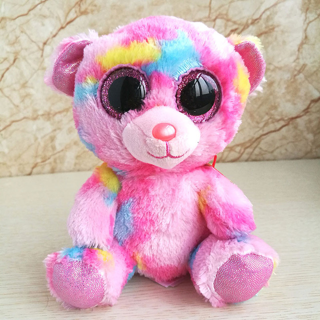 b3fb9f680be Ty beanie boos collection multicolored bear plush toy reg franky pink 15cm 6  inch girl s gift