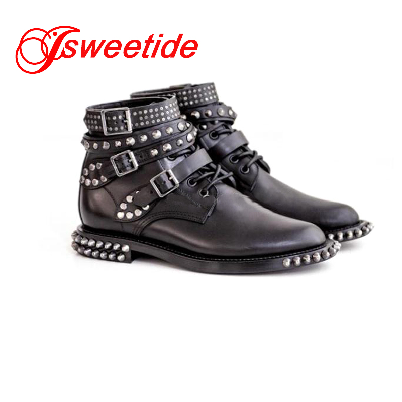 Short Motorcycle boots new arrive ankle boots heel Rivets fashion Rock roll style leisure women ankle
