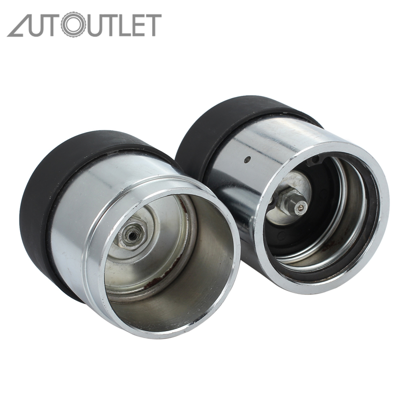 AUTOUTLET Trailer Hub Bearing Protectors With Dust Cover Caps 45mm Pair Linear Bearing Buddies Chrome Plated Bearing Protectors