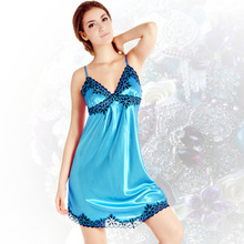Free Shipping2016Spring Summer Emulation Silk Nightgown Fashion Sexy Blue Condole V-neck Lace Leisure Sleepshirts