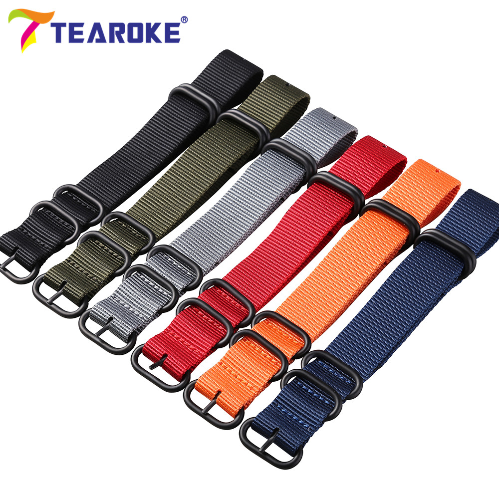 Wholesale 13 Color Heavy Duty Nylon Watchband NATO ZULU Strap 18mm 20mm 22mm 24mm Striped Rainbow Canvas Replacement Watch Band  wholesale suunto core nylon diver strap band kit w lugs adapters armygreen 5 colours 24mm zulu nato watchbands