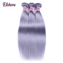 Elisheva Pre-Colored Peruvian Straight Hair Bundles Silver Grey Bundles Human Hair Extensions Remy Ombre Hair Bundles Hair Weft(China)