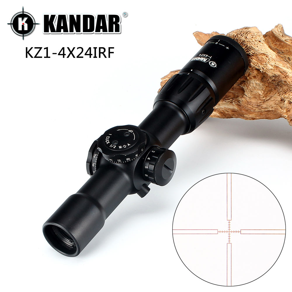 KANDAR KZ 1-4X24 IRF Compact First Focal Plane Hunting Riflescopes Q-2 Glass Etched Reticle Tactical Optical Sight Rifle Scope marcool 4 16x44 side focus front focal plane optical sights rifle scope hunting riflescopes for tactical gun scopes for adults