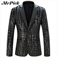 Men Blazer Jacket 2015 New Brand Casual Faux Leather Spliced Velvet Suit Fashion Pieces Design Blazer Z1751-Euro