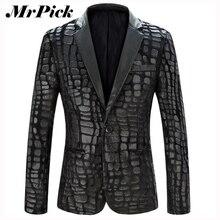 Мужчин пиджак куртка 2015 новый бренд свободного покроя искусственной кожи сращены бархатный костюм мода два-частей дизайн пиджак Z1751-Euro