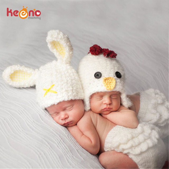 6b0d5cba7 US $7.68 47% OFF Keenomommy Crochet Easter Rabbit Chicken Newborn Baby  Photography Props Animal Design Infant Costume Baby Shower Gift H300-in  Hats & ...