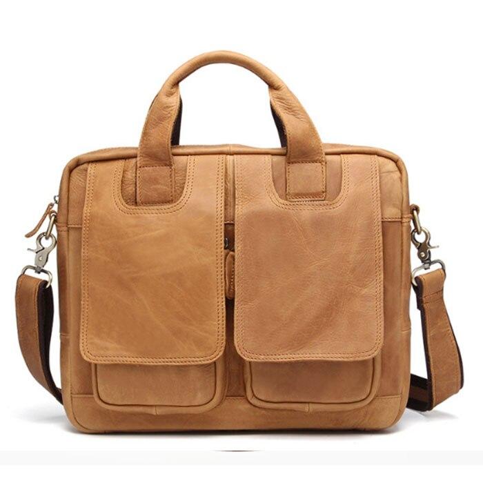 Homme kaki mallette d'affaires hommes en cuir véritable sac à main travail épaule Messenger sacs Top qualité en cuir véritable sac à bandoulière