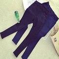 2015 Nuevas Mujeres de Invierno Engrosamiento de Vellón Cálido Leggings Inclinada Bolsillo Jeans Leggings Elásticos Lápiz Pantalones de Mezclilla Mujeres