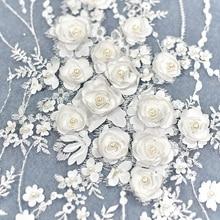 European luxury embroidery, satin bead, sequins, lace fabric, wedding dress, handmade DIY material, dress material.
