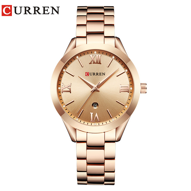 CURREN Top Luxury Brand Women Calendar Quartz Watches Ladies Stainless Steel Rose Gold Watch Female Wrist Watch Relogio Feminino watch women luxury brand lady crystal fashion rose gold quartz wrist watches female stainless steel wristwatch relogio feminino