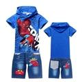 Primavera e no verão de 2016 novo Homem Aranha dos desenhos animados crianças vestuário terno menino chapéu da forma do bebê T-shirt e jeans calções