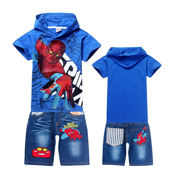 The spring and summer of 2016 new Spider Man cartoon children's clothing suit boy baby fashion hat T-shirt and denim shorts