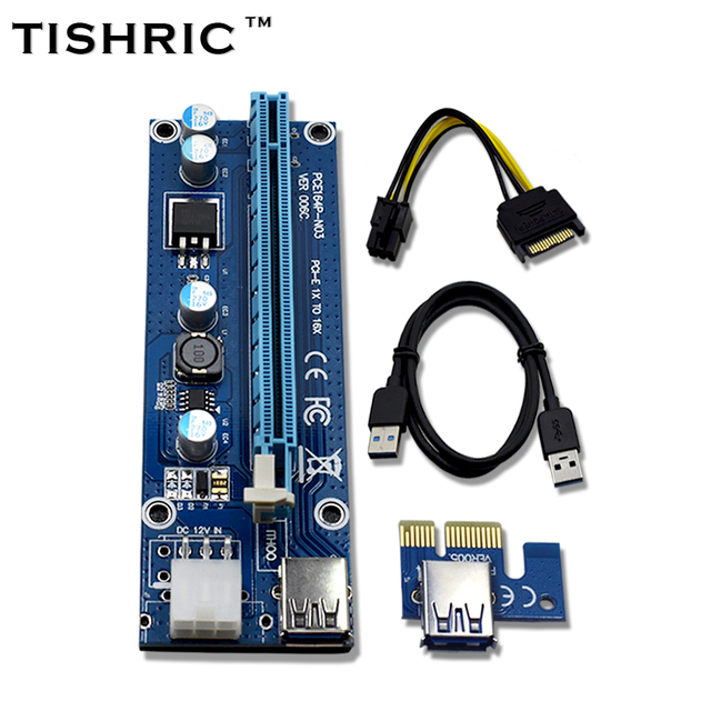 10pcs TISHRIC VER006C Blue 1x to 16x PCI Express Riser Card PCI-E Extender 60cm USB 3.0 Cable SATA to 6Pin Power for BTC Miner