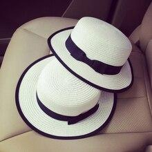 Aerlxemrbrae HT1699 Unisex Summer Straw Hat Flat Top Beach Sunhat Women Sun  Hats e64398e59c61
