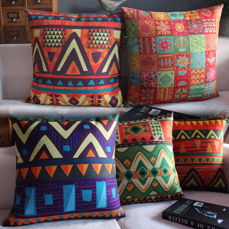 Ethnic Geometric Patterns Cotton Pillow Cover For Sofa Car Chair Cushion Case Cover Decorative 45x45cm Without Stuffing
