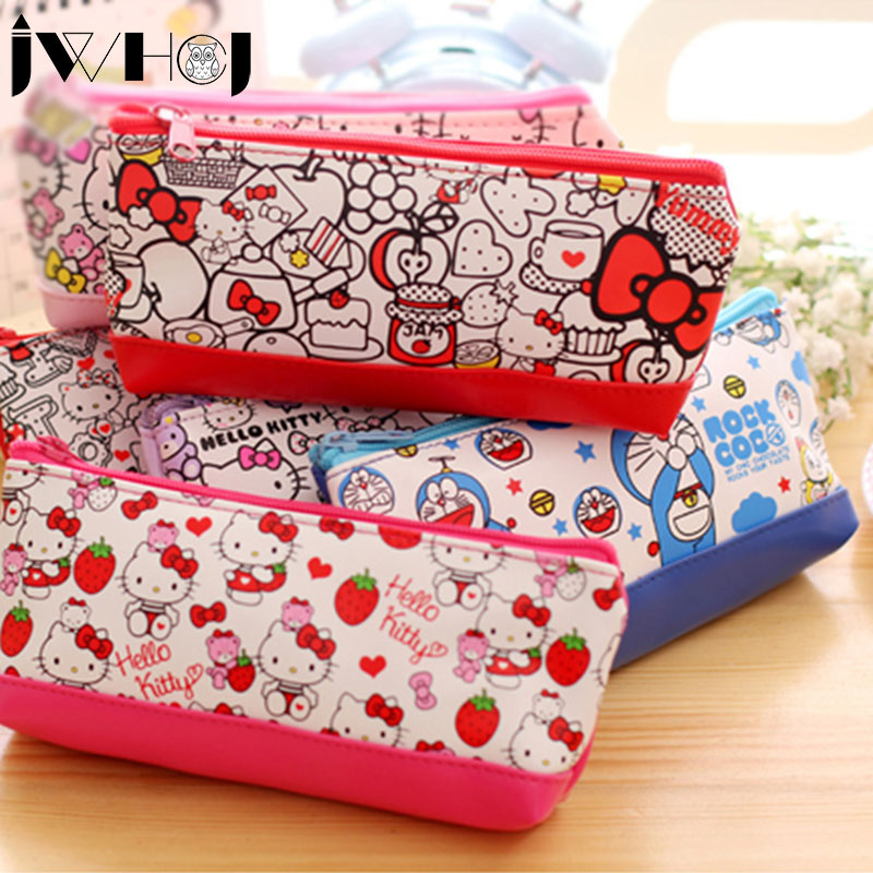 1 pcs Cute cat PU leather pencil case pencil bag Pouch Purse stationery escolar school supplies Students gift Free shipping цена и фото