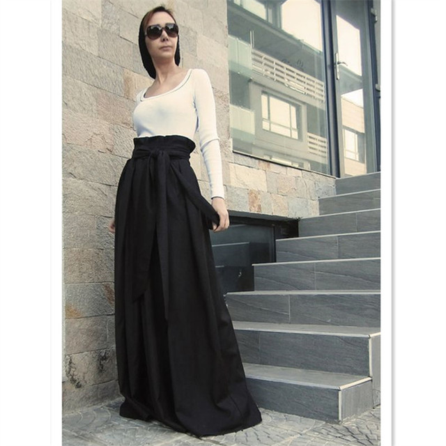 5fca4d4a18 WBCTW Long Maxi Skirts Women Black High Waist 7XL Plus Size Vintage Fashion  Pleated Runway Fall Winter Women Skirts With Pockets
