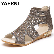 YAERNI Sandals Women Sandalia Feminina 2018 Casual Rome Summer Shoes Fashion Rivet Gladiator Sandals Women Sandalia Mujer B67(China)