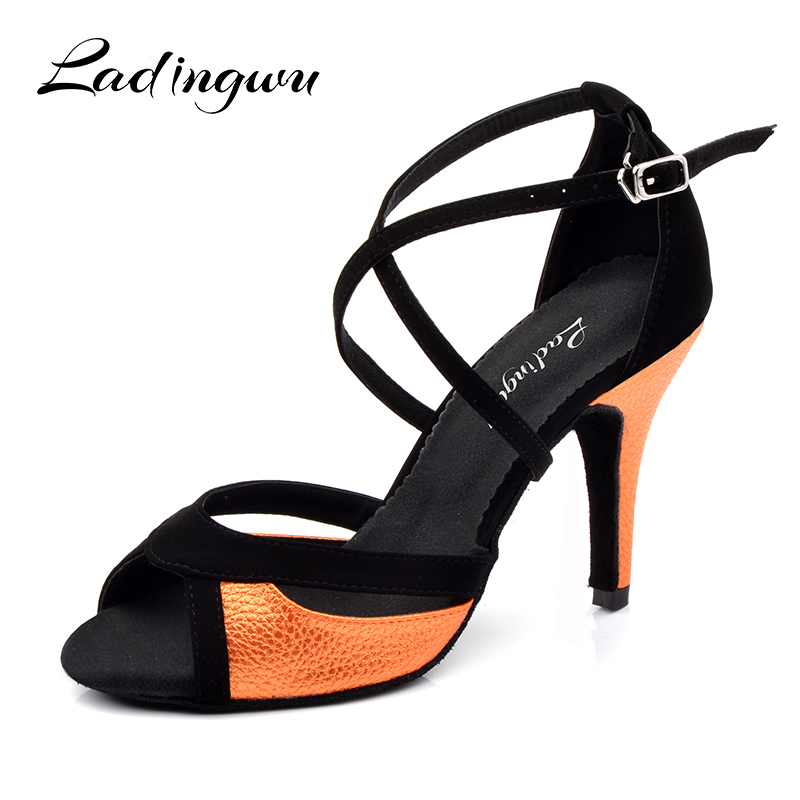 Ladingwu Salsa Dance Shoes For Women Black Flannel and Orange PU Latin Dance Shoes Women's Ballroom Dance Sandals Heel 10cm