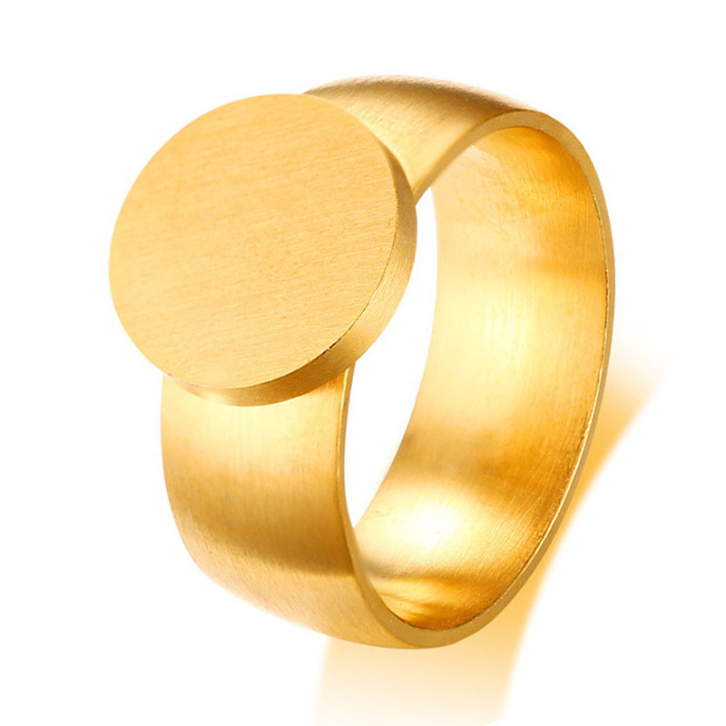 New Fashion Big Round Signet Rings Gold Color Titanium Steel Finger Ring Jewelry for Men and Women