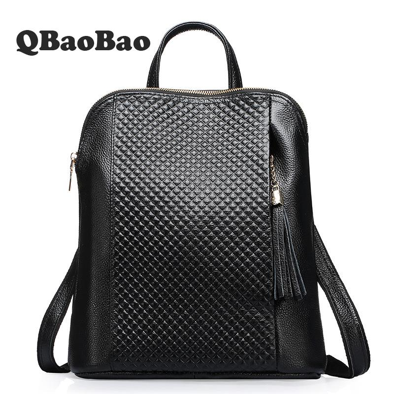 2017 New Female Fashion Design Backpack Tassel School Bag Preppy Style Vintage Backpacks for Teenager Girls Genuine Leather Bag 8848 brand women backpack preppy style 2017 spring new school student bag backpacks knapsack female 15 6 laptop 173 002 013