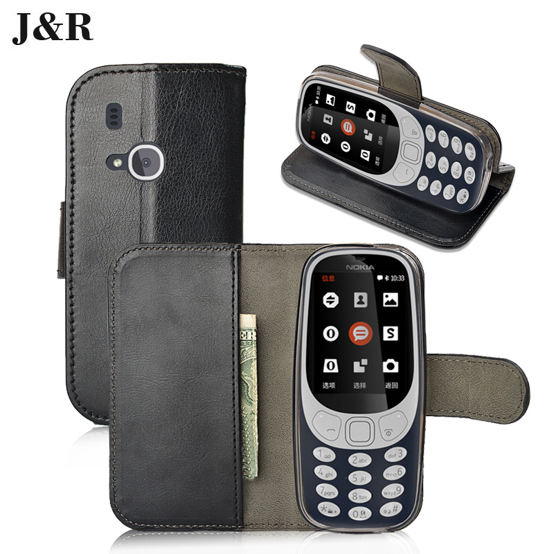J&#038;R For <font><b>Nokia</b></font> <font><b>3310</b></font> Luxury Wallet Flip Leather Stand Case Cover For <font><b>Nokia</b></font> <font><b>3310</b></font> 2017 2.4 Inches Magnetic <font><b>Mobile</b></font> <font><b>Phone</b></font> Bags Cases