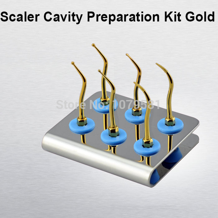 1 set KACKG SCALER CAVITY PREPARATION KIT GOLD dental clening kit 1 set kackg dental scaler tips kit for oral hygiene kids for dental cavity fit air scalers kavo nsk sirona w