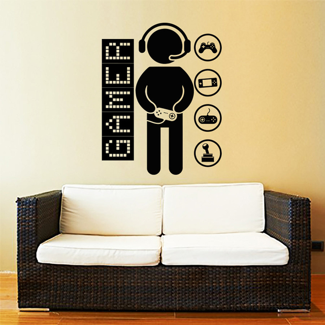 Cartoon Game Controllers Gamer Video Wall Sticker Vinyl Decals Wall ...