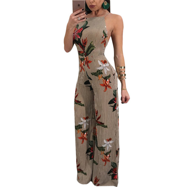 ee63e28c312a New 2018 Summer Floral Print Chiffon Rompers Jumpsuits Women s Sexy Lace-up  Backless Wide Leg Pants Loose Playsuit Overalls 2XL