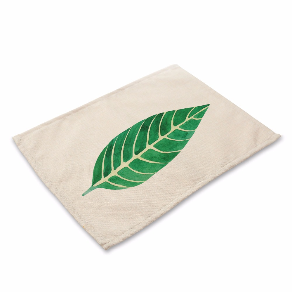 42*32cm New Green Plant Carton Pattern Printed Table Napkins Girls Dinner Jogo Americano Para Mesa Cloth Napkins Wholesale