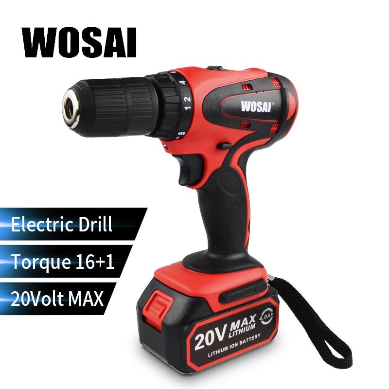WOSAI 20V perceuse à main électrique sans fil batterie au Lithium perceuse électrique sans fil perceuse à 2 vitesses tournevis électrique outils électriques