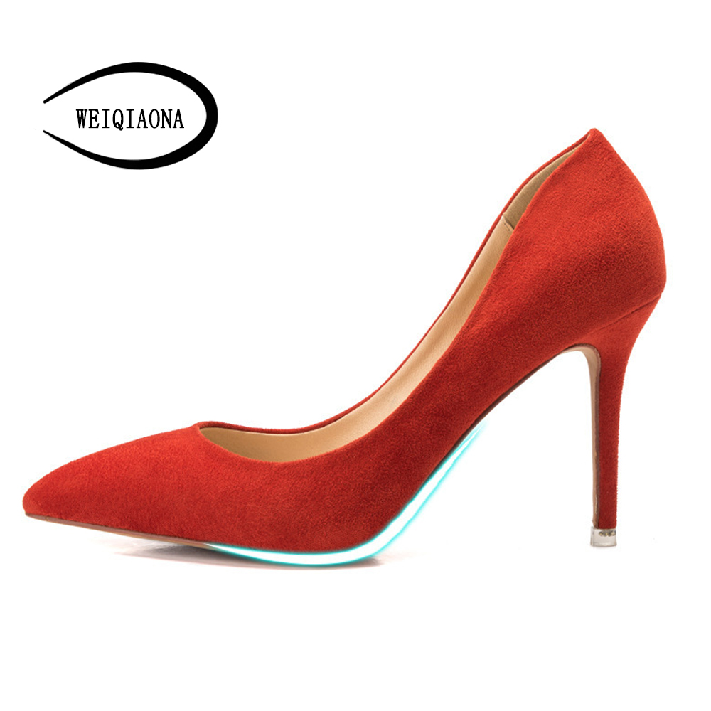 WEIQIAONA 2018 New Casual Women for Shoes Fema High Heel Pumps Thin High Heel Shallow Pointed shoes Elegant shoes OL Party ShoesWEIQIAONA 2018 New Casual Women for Shoes Fema High Heel Pumps Thin High Heel Shallow Pointed shoes Elegant shoes OL Party Shoes