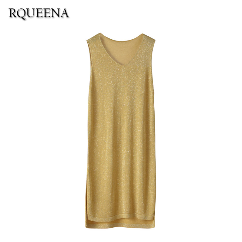 Rqueena Cheap Clothing China Yellow V Neck Tank Dress Women High Quality Sleeveless Women Dress Autumn Long Knitted Dresses