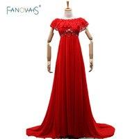 New Designer 2019 Vestidos De Noiva Gestante Red Evening Dresses Long Crop Top Prom Party Dress Evening Dress Plus Size(ASA 023)