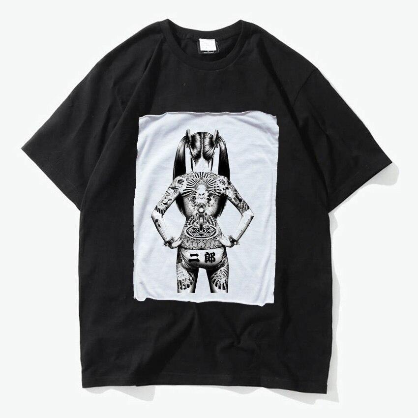 Японская девушка Rock N roll татуировки Gangster татуировки удобные дышащие Ти Рок модные черные футболка