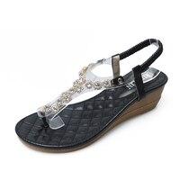 HEYIYI Women Sandals Platform Diamonds Rhinestone Flats Shose Fashion Wedges Summer Beach Shoes Plus Size Rome