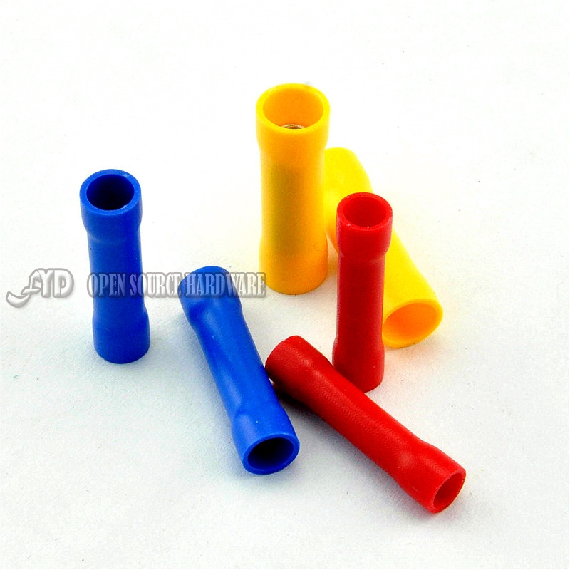 BV1.25 / BV2 / BV5.5 Tubular Insulated Terminal Long Elongated Intermediate Joint Cold Head 10pcs/lot