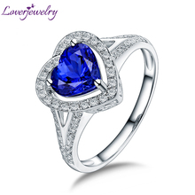 Real Solid 14K White Gold Natural Blue Tanzanite Wedding Rings Engagement Diamond Fine Jewelry for Women Birthday Gift